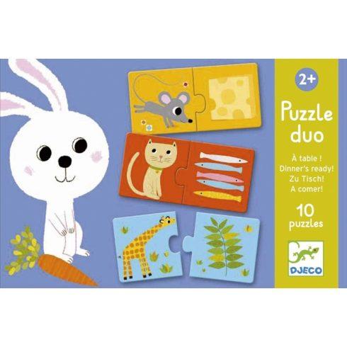 Párosító puzzle - Ki mit eszik?  Puzzle duo