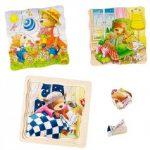 Négyrétegû fa puzzle - Kismackók