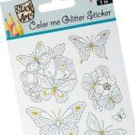 Stick Art színezhető  csillámos matrica, 9x24 cm-es, Lepke, 1 ív